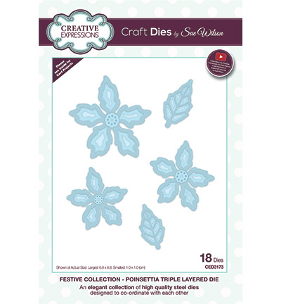 CED3173 Creative Expressions Poinsettia Triple Layered