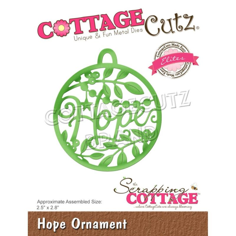 "CCE581 CottageCutz Elites Die Hope Ornament 2.5""X2.8"""