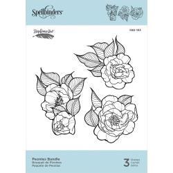 SBS183 Spellbinders Cling Stamps Peonies Bundle By Stephanie Low