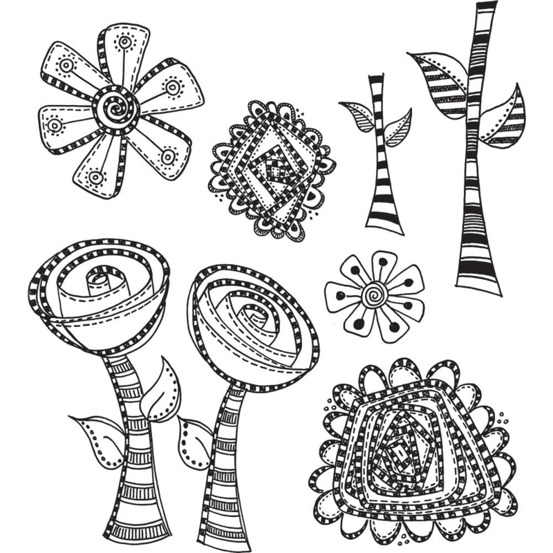 """205478 Dyan Reaveley's Dylusions Cling Stamp Collections Everything's Rosy 8.5""""X7"""""""
