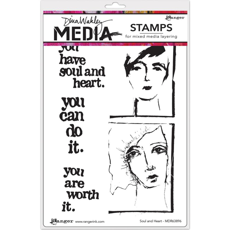 """542988 Dina Wakley Media Cling Stamps Soul & Heart 6""""X9"""""""
