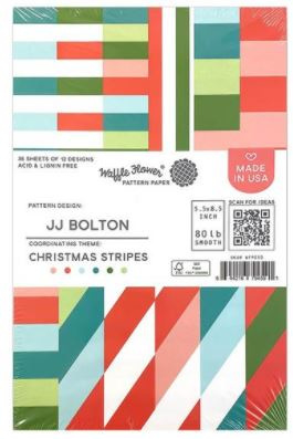 "642408 Waffle Flower Single-Sided Paper Christmas Stripes 5.5""X8.5"""