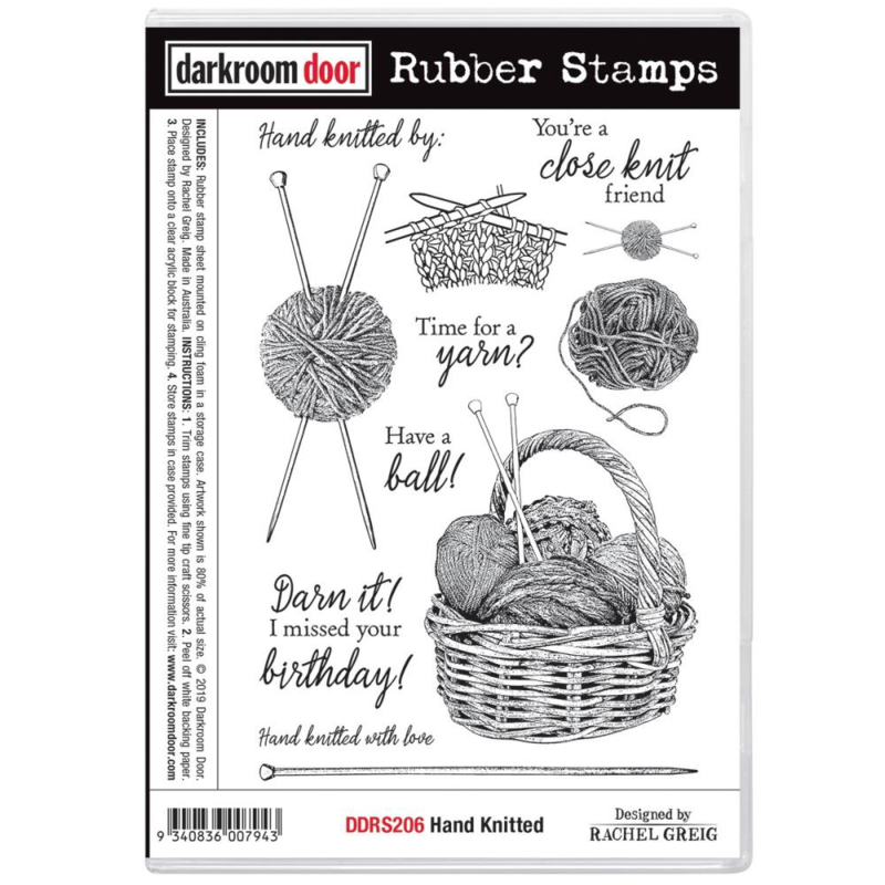 """DDRS206 Darkroom Door Cling Stamps Hand Knitted 7.3""""X5.1"""""""