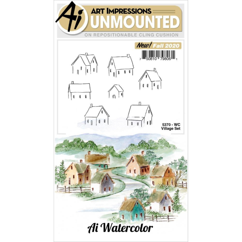 644038 Art Impressions Watercolor Cling Rubber Stamps Village
