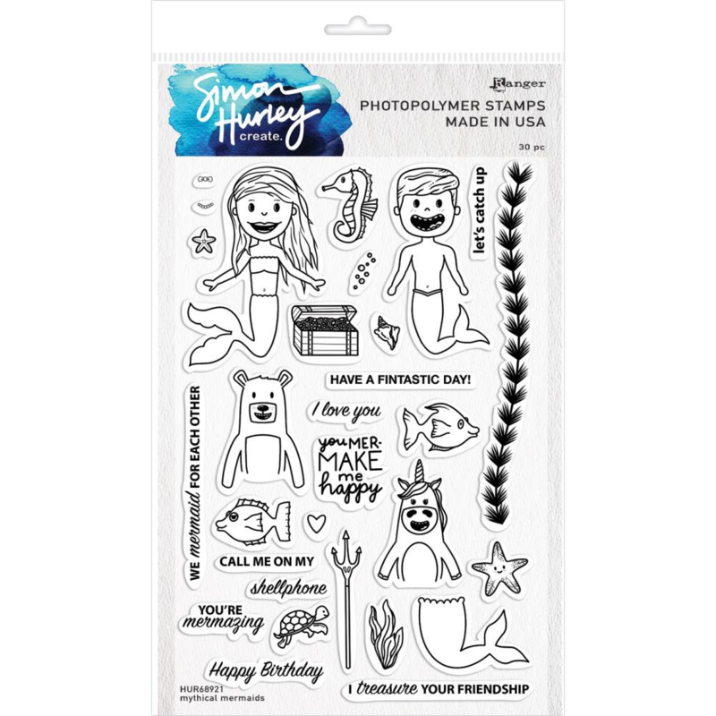 """HUR68921 Simon Hurley create Cling Stamps Mythical Mermaids 6""""X9"""""""