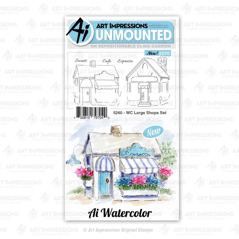 623364 Art Impressions Watercolor Cling Rubber Stamps WC Large Shops