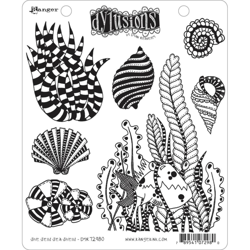 """617533 Dyan Reaveley's Dylusions Cling Stamp She Sells Sea Shells 8.5""""X7"""""""