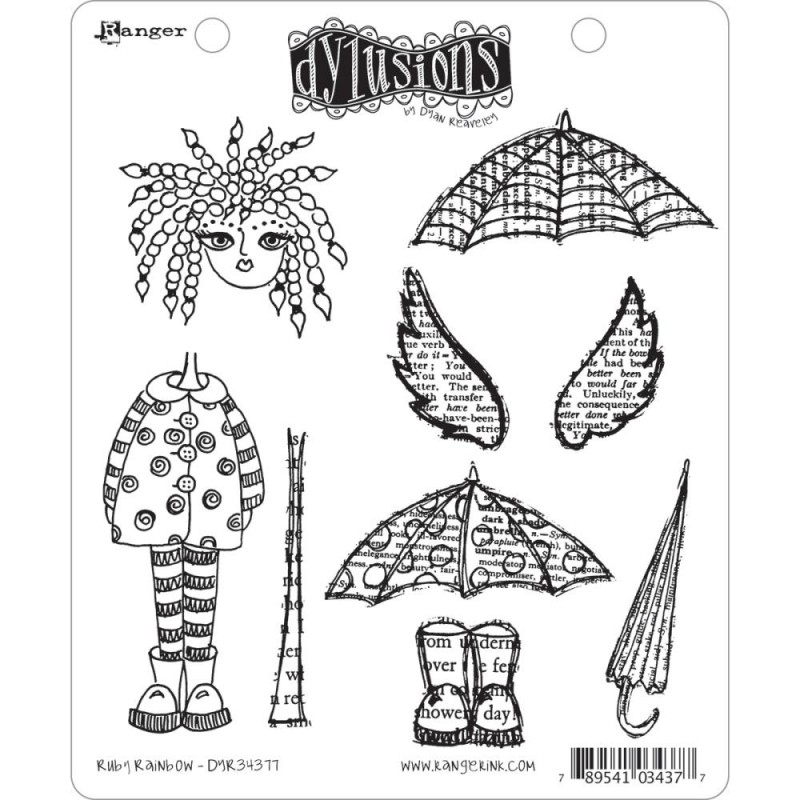 222272 Dyan Reaveley`s Dylusions Cling Stamp Collection Ruby Rainbow