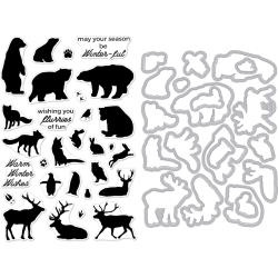 521073 Hero Arts Clear Stamp & Die Combo Winter Animals