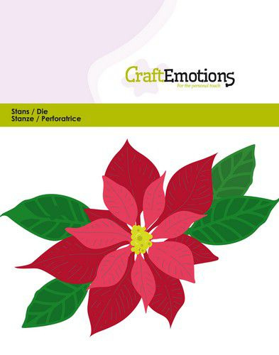 115633/0432 CraftEmotions Die - kerstster / Poinsettia Card 11x9cm - 9,5 cm