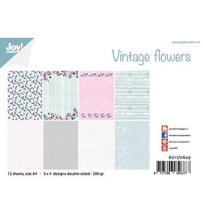 6011/0649  Papier Set A4 Design Vintage Flowers