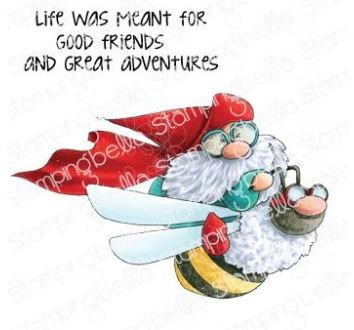 EB944 Stamping Bella Cling Stamps Flying Gnome