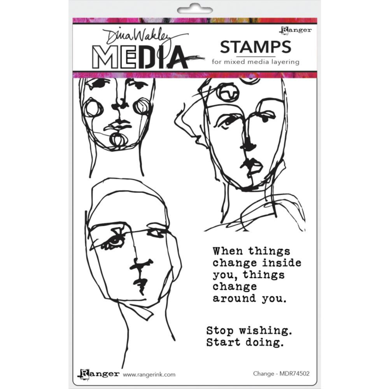 """638846 Dina Wakley Media Cling Stamps Change 6""""X9"""""""