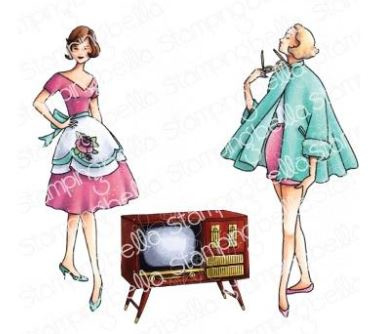 EB962 Stamping Bella Cling Stamps Edgar And Molly Vintage TV Set