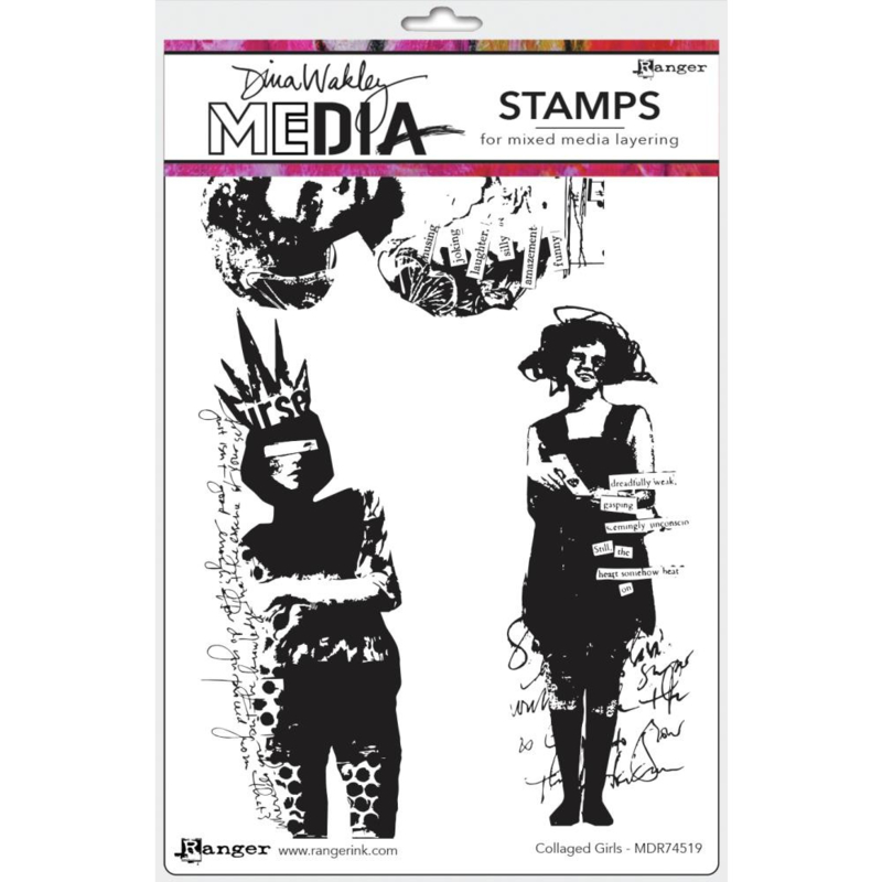 """638847 Dina Wakley Media Cling Stamps Collaged Girls 6""""X9"""""""