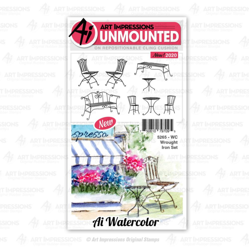 623307 Art Impressions Watercolor Cling Rubber Stamps WC Wrought Iron