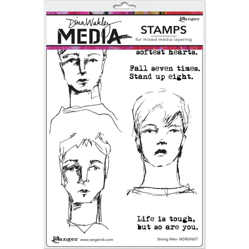"617335 Dina Wakley Media Cling Stamps Strong Men 6""X9"""