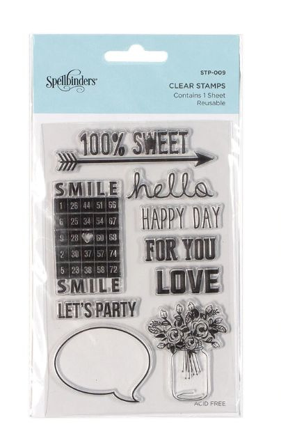 STP-009 Spellbinders 100% Sweet Sentiments Clear Stamps