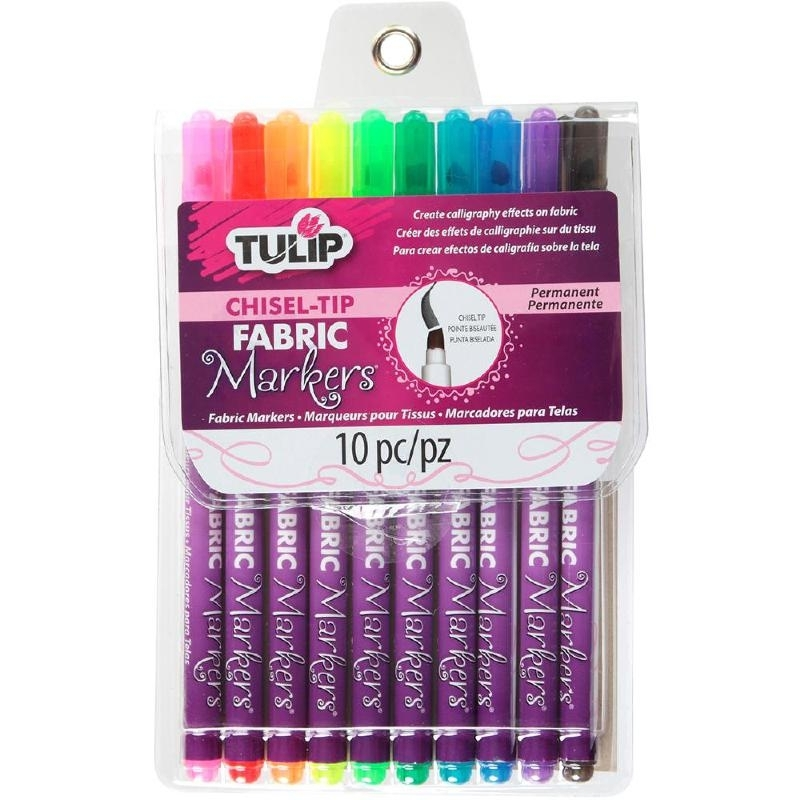 394858 Tulip Chisel-Tip Fabric Markers Assorted  10/Pkg