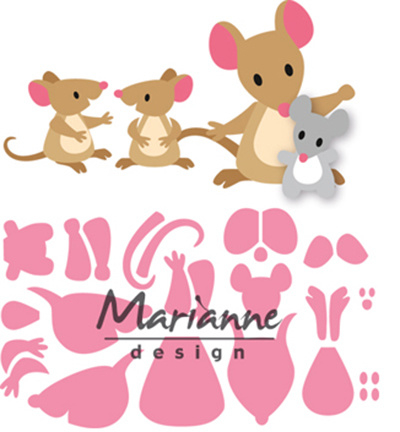 COL1437 Marianne Design Collectables Eline's mice family