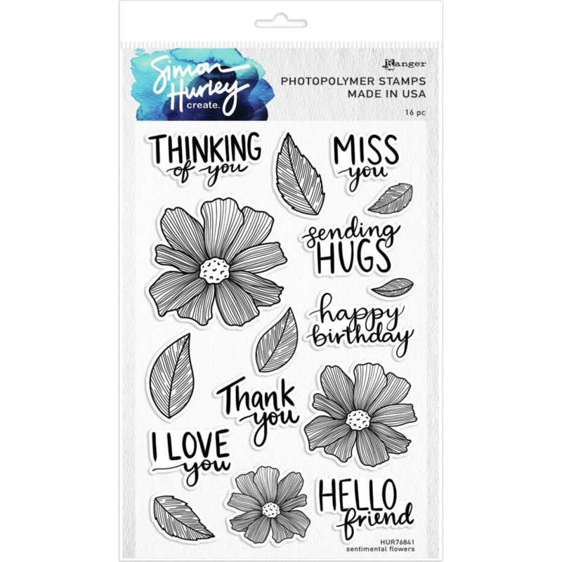 "HUR76841 Simon Hurley create. Cling Stamps Sentimental Flowers6""X9"""
