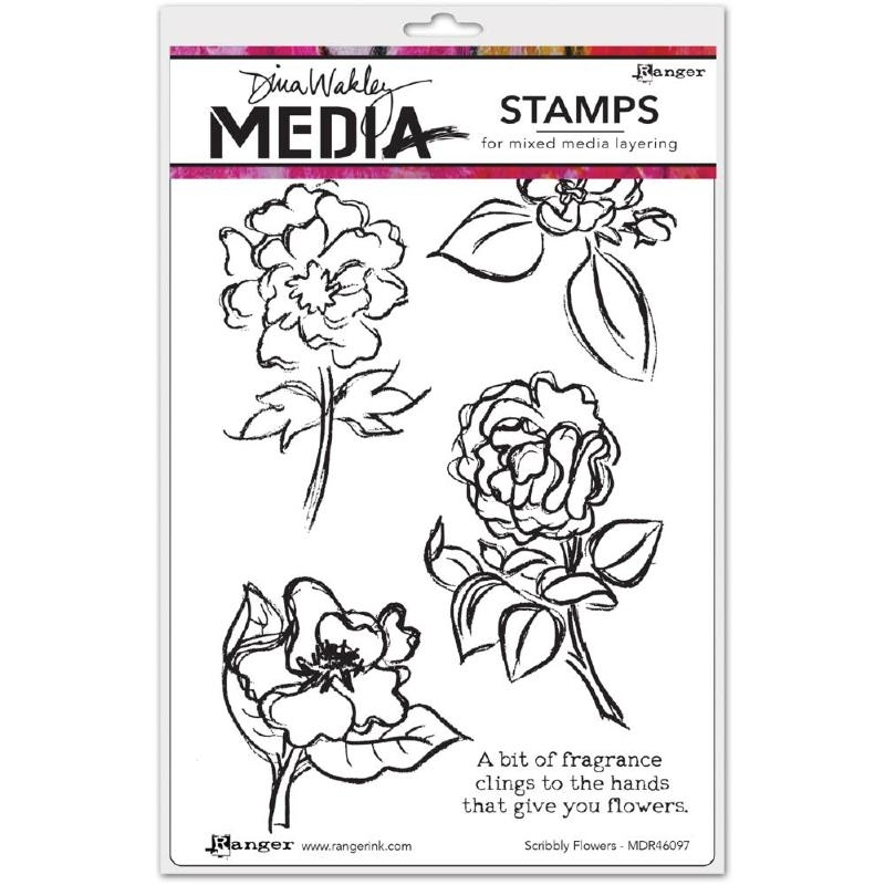 320635 Dina Wakley Media Cling Stamps Scribbly Flowers