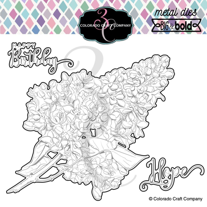 647543 Colorado Craft Company Metal Die Set Just Beacuse Lilacs-Big & Bold