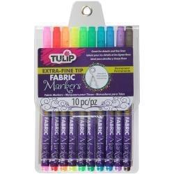 394860 Tulip Extra-Fine Tip Fabric Markers Assorted 10/Pkg