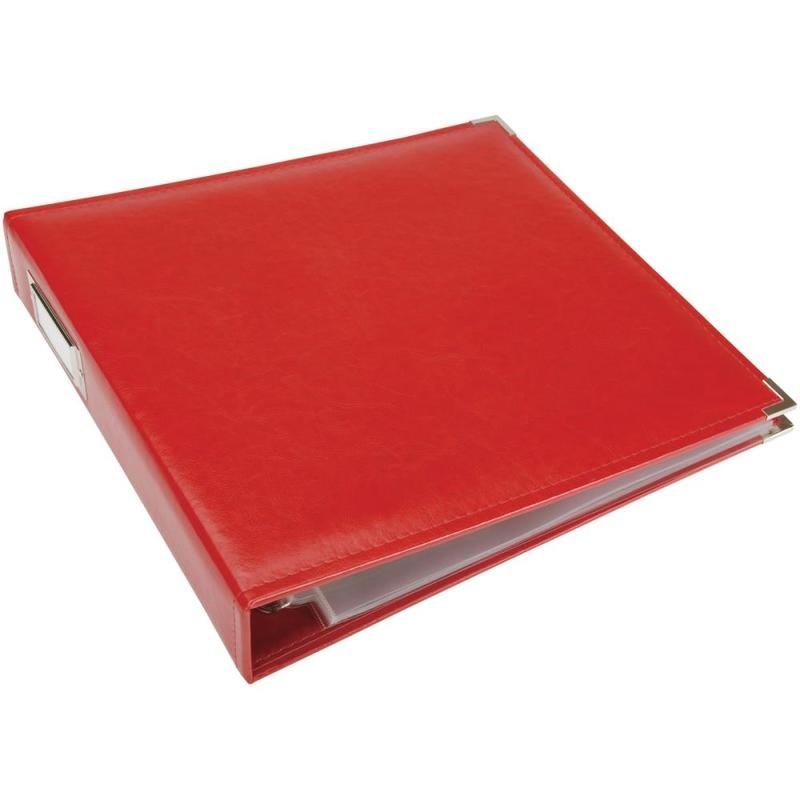 "517028 We R Classic Leather 3-Ring Album Real Red 12""X12"""