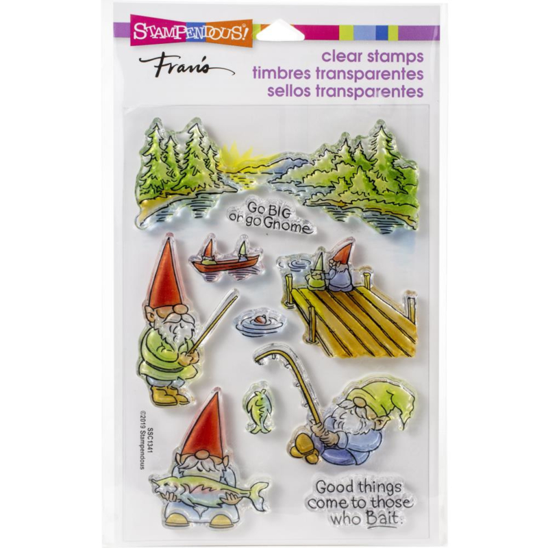 615373 Stampendous Perfectly Clear Stamps Gnome Fishing