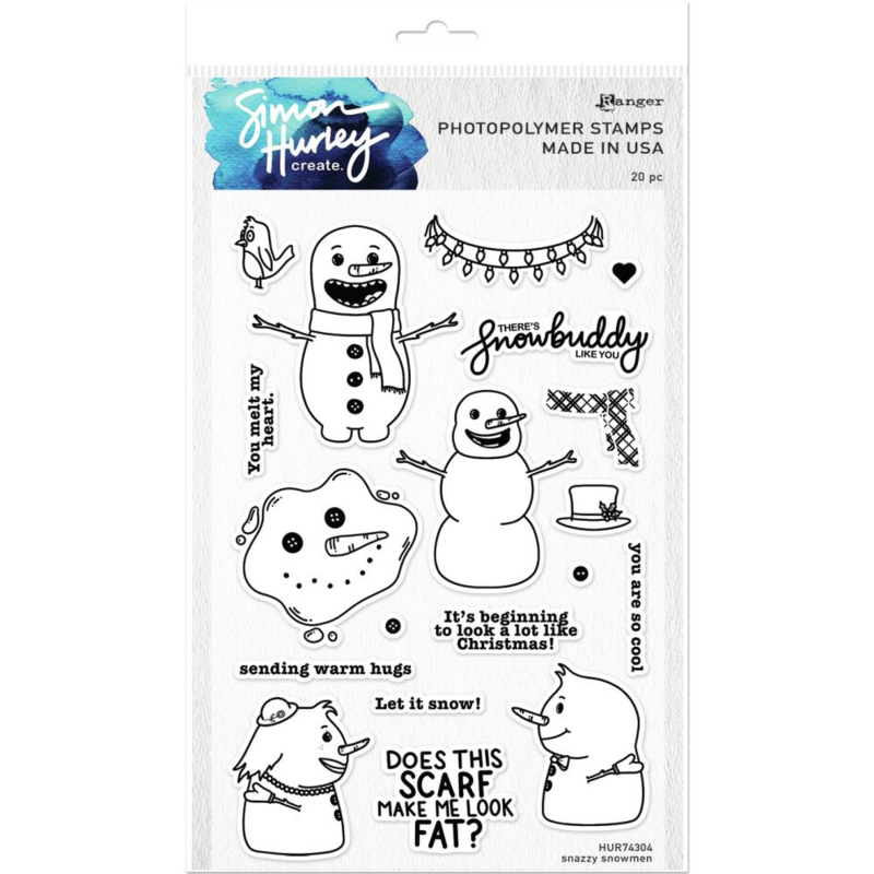 "HUR74304 Simon Hurley create. Cling Stamps Snazzy Snowmen 6""X9"""