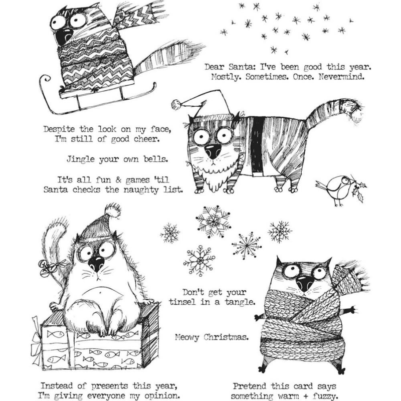 """CMS 416 Tim Holtz Cling Stamps Snarky Cat Christmas 7""""X8.5"""""""