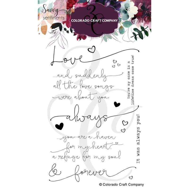 """647546 Colorado Craft Company Clear Stamps Always & Forever-Savvy Sentiments 4""""X6"""""""
