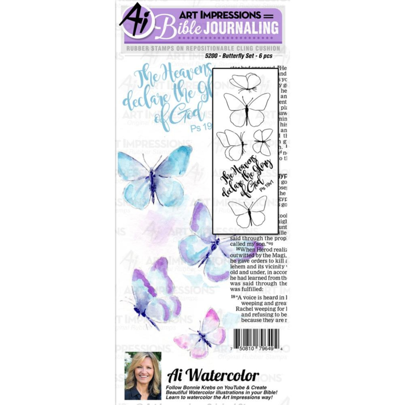 605048 Art Impressions Bible Journaling Watercolor Rubber Stamps Butterfly