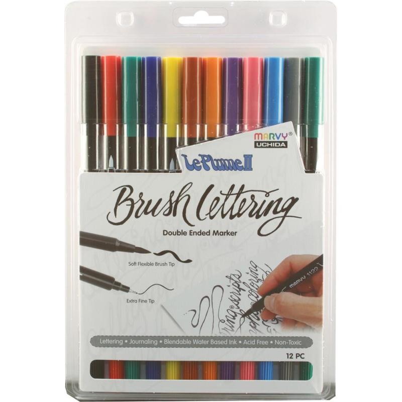 380984 Le Plume II Double-Ended Brush Lettering Marker Primary Set 12/Pkg