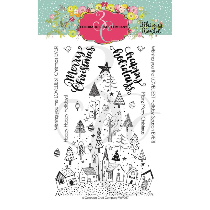 """C3WW268 Colorado Craft Company Clear Stamps Christmas Town Tree-Whimsy World 4""""X6"""""""