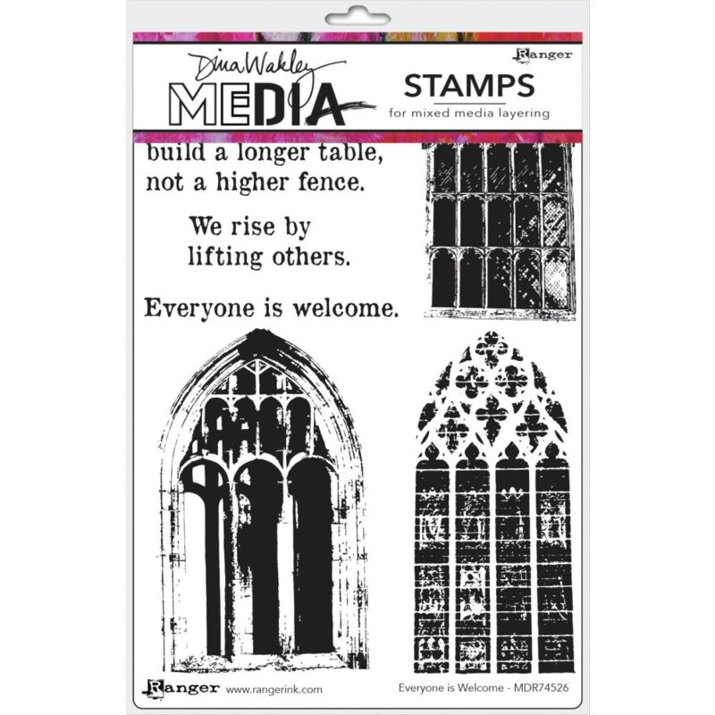 """638848 Dina Wakley Media Cling Stamps Everyone Is Welcome Girls 6""""X9"""""""