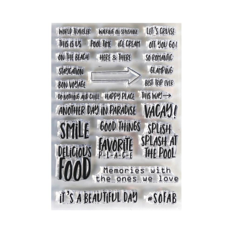 EC-CS192 Elizabeth Craft Clear Stamps Vacay Phrases