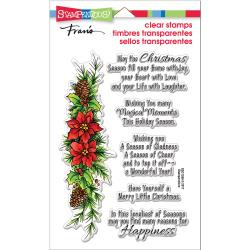 """018219 Stampendous Perfectly Clear Stamps Poinsettia Wishes 7.25""""X4.625"""""""