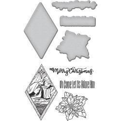 SBS091 Spellbinders Stamp & Die Set Nativity Ornaments By Stephanie Low