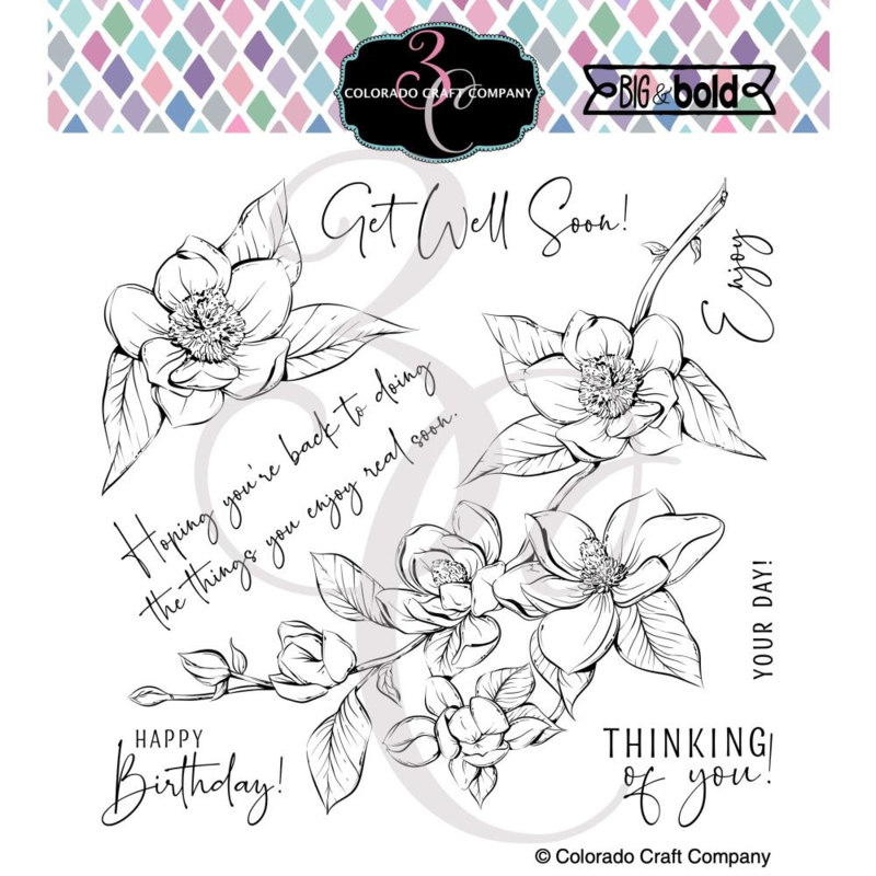 """647542 Colorado Craft Company Clear Stamps Thinking Of You Magnolias-Big & Bold 6""""X6"""""""