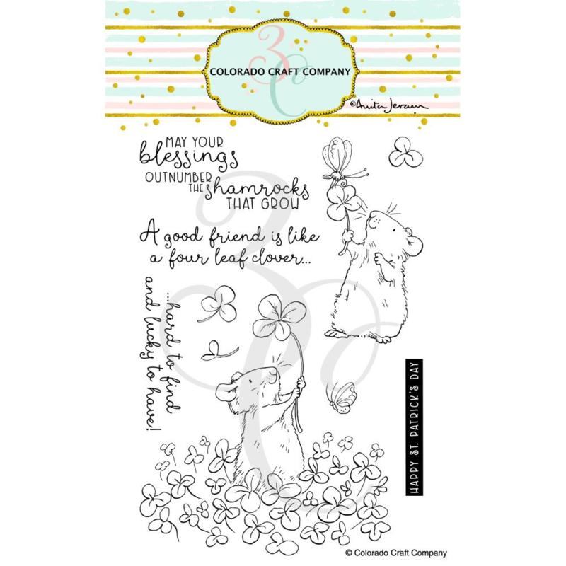 "647534 C3AJ416 Colorado Craft Company Clear Stamps 4 Leaf Clover-By Anita Jeram  4""X6"""
