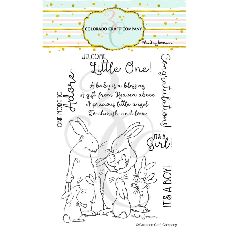 """651199 Colorado Craft Company Clear Stamps New Baby-By Anita Jeram 4""""X6"""""""
