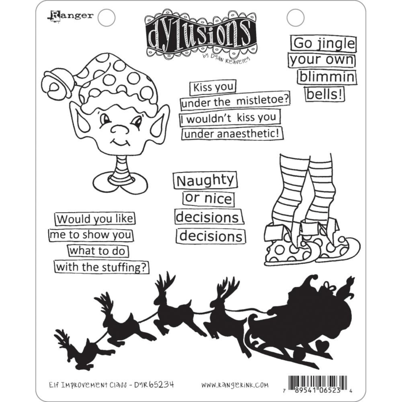 """553389 Dyan Reaveley's Dylusions Cling Stamp Collections Elf Improvement Class 8.5""""X7"""""""