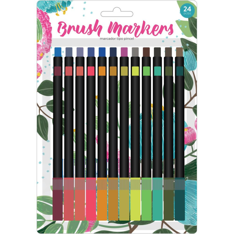 626053 American Crafts Brush Markers Traditional Flower 24/Pkg