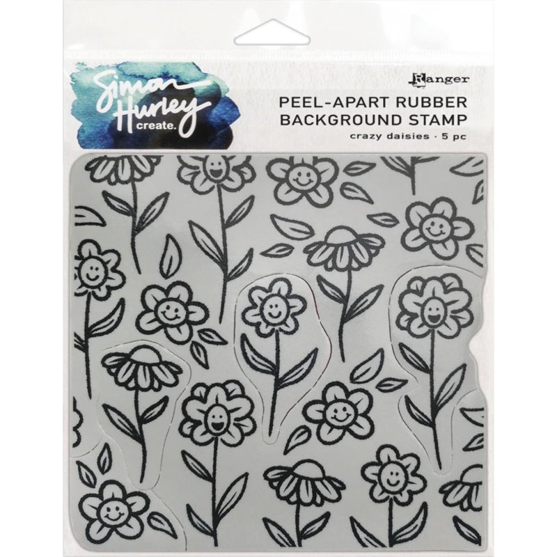 "HUR67 75455 Simon Hurley create. Cling Stamps  Crazy Daisies 6""X6"""