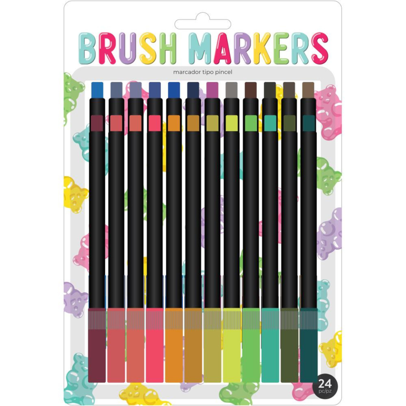 626052 American Crafts Brush Markers Sweet Treats 24/Pkg