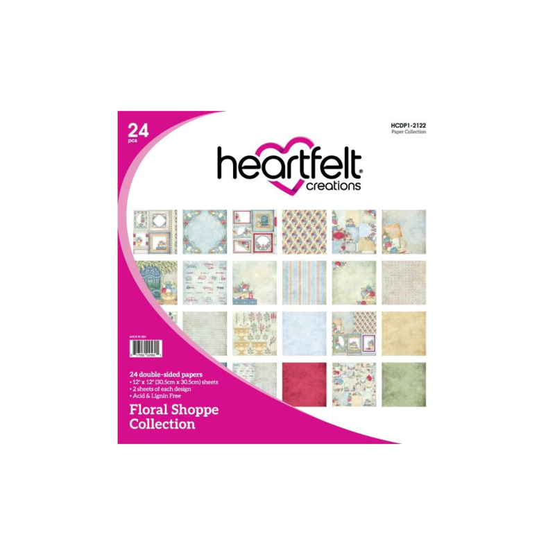 "HCDP1-2122 Heartfelt Creations Double-Sided Paper Pad Floral Shoppe 12""X12"""
