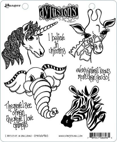 """568464 Dyan Reaveley's Dylusions Cling Stamp Collections I Believe In Unicorns 8.5""""X7"""""""