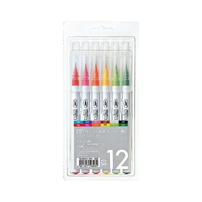 RB-6000AT/12V Zig Clean Color Real Brush Markers 12/Pkg